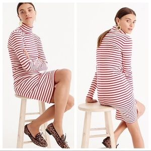J.Crew • Red Turtleneck Striped Dress
